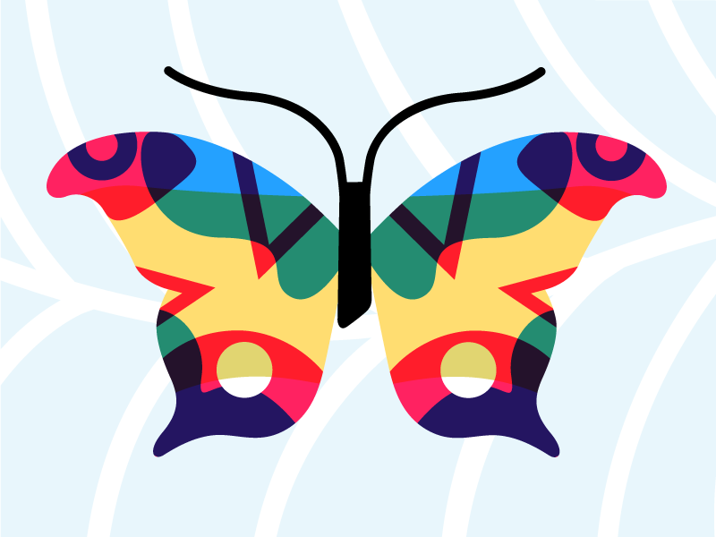 Butterfly illustration green blue red fun colorful abstract illustration butterfly