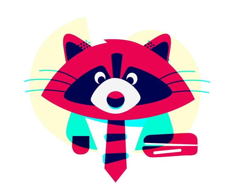 Ostby the racoon overprint overlay animal character office work raccoon