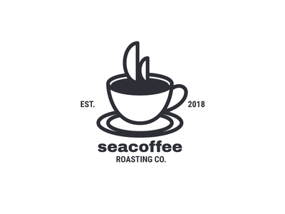 Seacoffee | Logo Design sail cup sea ship coffee corporate identity identity design branding identity brand company logo business logo logotype logo design logo
