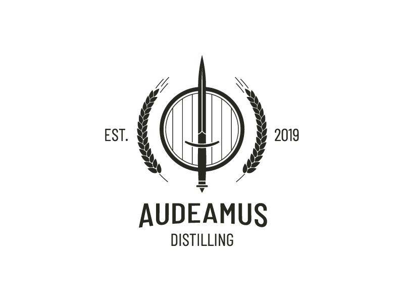 Audeamus Distilling / Logo Design distillation distilling wheat dagger keg modern logo logo design logo identity and branding icon branding and logo design branding identity branding adobe illustrator