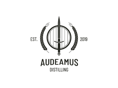 Audeamus Distilling / Logo Design distillation distilling wheat dagger keg modern logo logo design logo identity and branding icon branding and logo design branding identity branding adobe illustrator