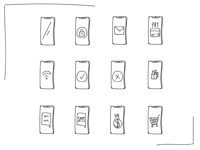 Hand drawing Line Icons - Phone presentation iphonex iphone website marketing sms mail appicon app drawing handmade hand line lineicon iconsets iconset phone app call phone illustration