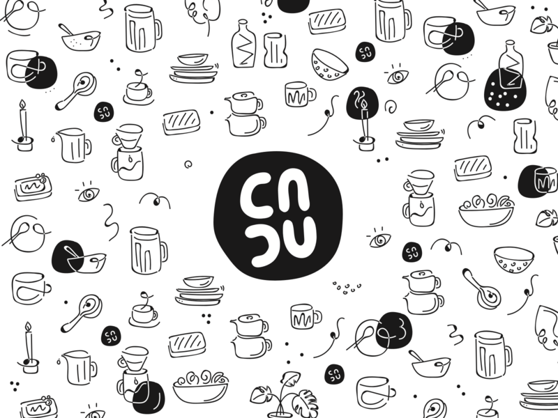 cncu ceramics-  ilustration pack & logo for packaging icon blackandwhite black package identitydesign drawn line linedrawing handdrawing drawing ilustration logo mug ceramic ceramics packaging design packagedesign packaging
