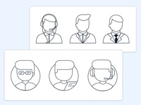 Manager/Customer/Contact Center Icon Sketches