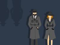 Spy Man & Woman Illustration