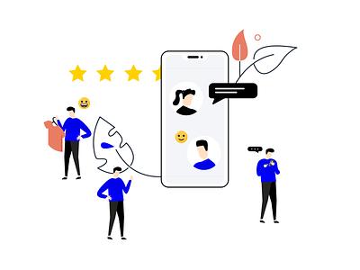 Customer Satisfaction app vector feedback ui design ux logo journey drawing character customer