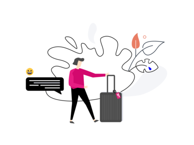 A Girl Carrying Suitcase / Illustration