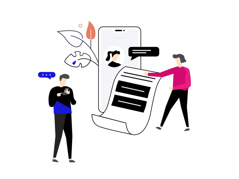 customer experience - mobile chat and reporting reporting report mobilechat mobile customerexperience experience customer experience kiosk branding team illustration feedback journey drawing character customer