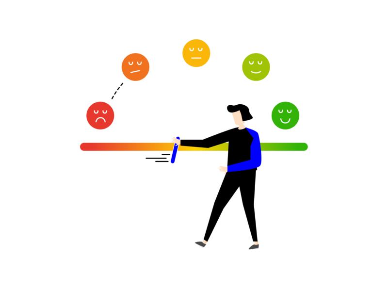 customer experience - red to green positive negative journey team branding design illustration character customerexperience customer experience feedback customer experience emoji green red