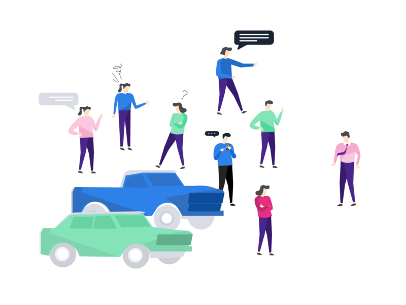 Buy a Car - Decision Process with Pisano Characters vector team illustration customer feedback journey character drawing car buyacar process decision