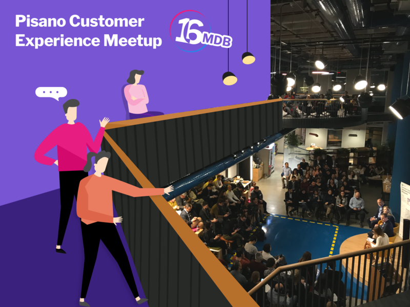 16.Pisano Customer Experience Meetup with Pisano Characters branding app event drawing customerexperience experience meetup logo feedback journey customer character illustration