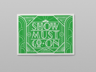 Show must go on postcard lettering