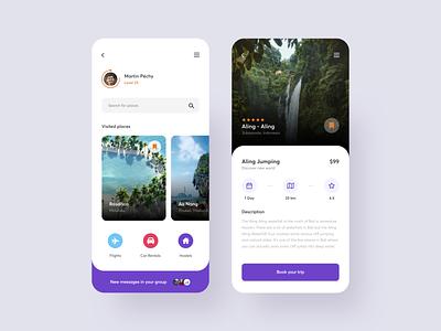 Travel App travelling travel adventure trip clean minimalistic design ui app