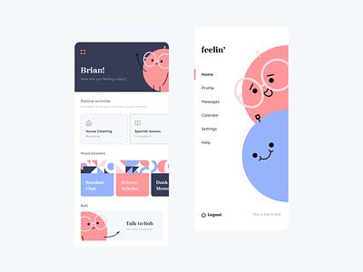 Mood Concept App feeling feels ui design illustrations minimalistic clean shapes funny illustration mood