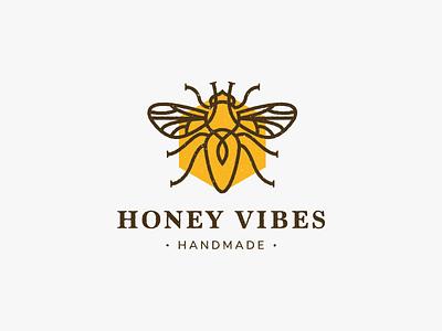 Honey Vibes typography design branding honey bee honey bee logo design illustration logotype logo