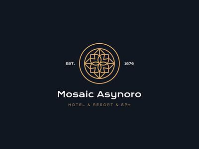 Mosaic Asynoro Logo minimalistic elegant hotel symetric geometic shapes branding concept branding design logo branding