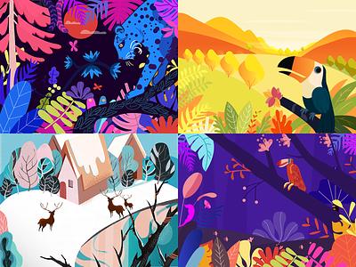 Illustration collection ux  ui illustration design color card art branding