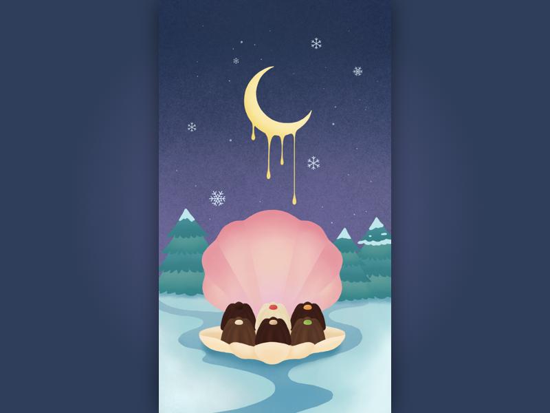 winter chocolate ps draw chocolate moon winter