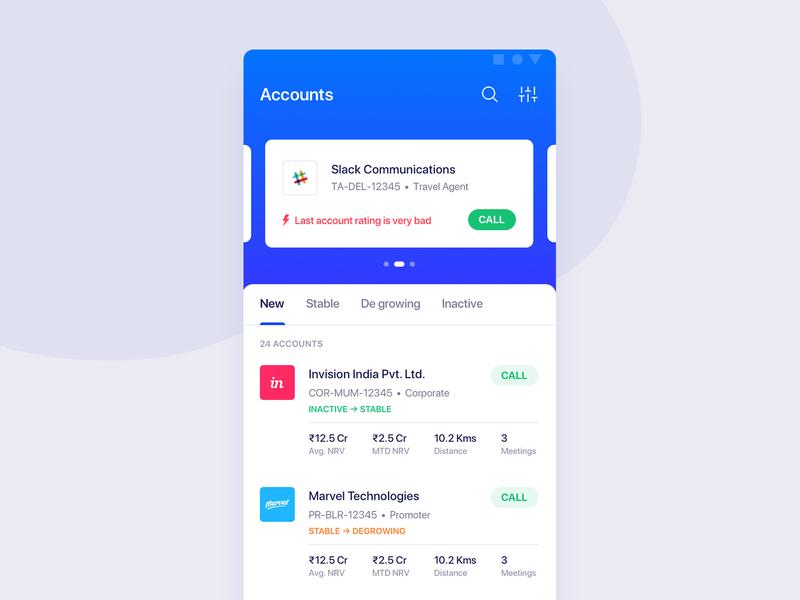 Accounts - OYO Sales App