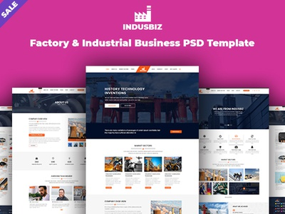 indusbiz - Factory & Industrial Business PSD Template themeforest xd photoshop ux psd ui