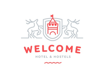 Welcome ver. 2 logo design brand identity branding logotype outline deer hostel hotel novgorod nizniy nn welcome
