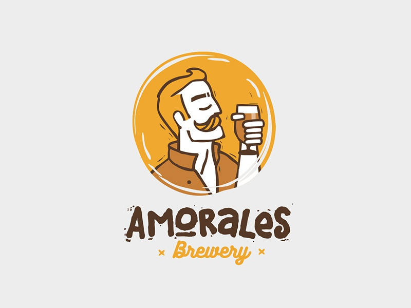 Amorales Brewery  outline beard human men man amorales character craft beer logo
