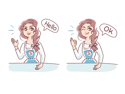 Girl emotions, stickers