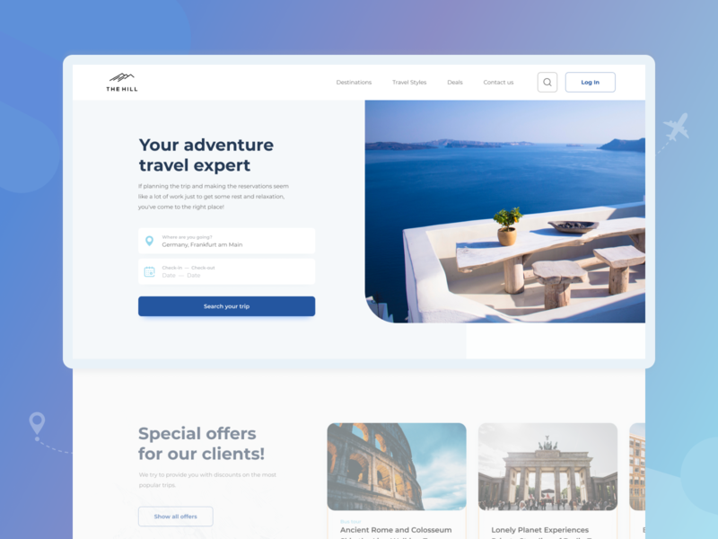 THE HILL – Travel Website tourism tour travel blog travelling travel agency trip travel design ux ui website web