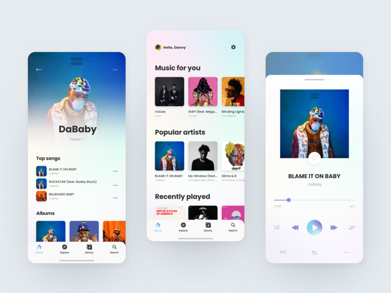 Music Player | mobile app design app design ios app design ios app ios player design playlist play music player music app music mobile app mobile app ux ui
