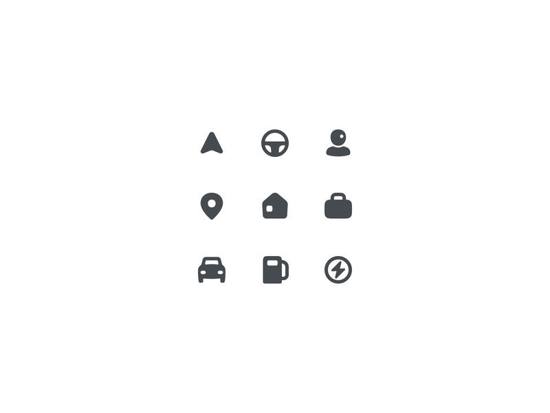 Icon Exploration car maps iconset streeingwheel charger vehicles office home poi icon gui ui icons vector cute flat