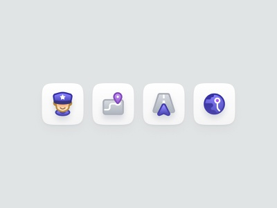 Icon exploration world earth navigation policeman map app icon character gui ui icons vector illustration illust cute flat