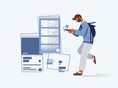 Custom Illustration man daily landscape app illustration illust blue wire ui ux cute flat