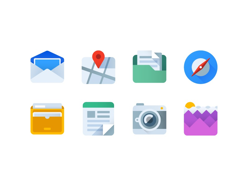 Flat icons ui compass icon design icons flat map folder weather camera memo mail wallet