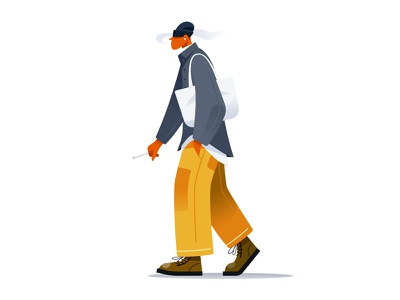 FW Season #2 smoke illustrator illustration illust fall drawing vector season flat character design character boy