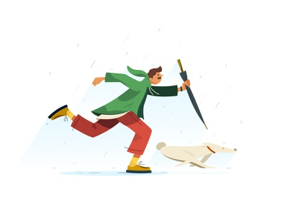 Good Day weekend rain dog umbrella rainy day character design vector cute illustration illust flat