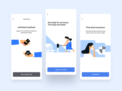 Bank App product design onboarding screens onboarding ux blue mobile character app ui gui icons vector illustration illust cute flat