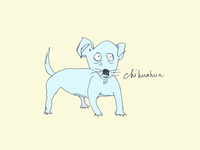 ART EVERY DAY NUMBER 419 / ILLUSTRATION / BLUE CHIHUAHUA