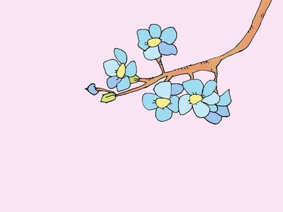 ART EVERY DAY NUMBER 516 / ILLUSTRATION / BLUE FLOWERS