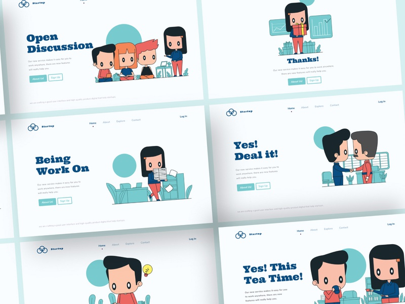 Crafted Unique Illustration Startup Team! character design web illustration landingpage vector