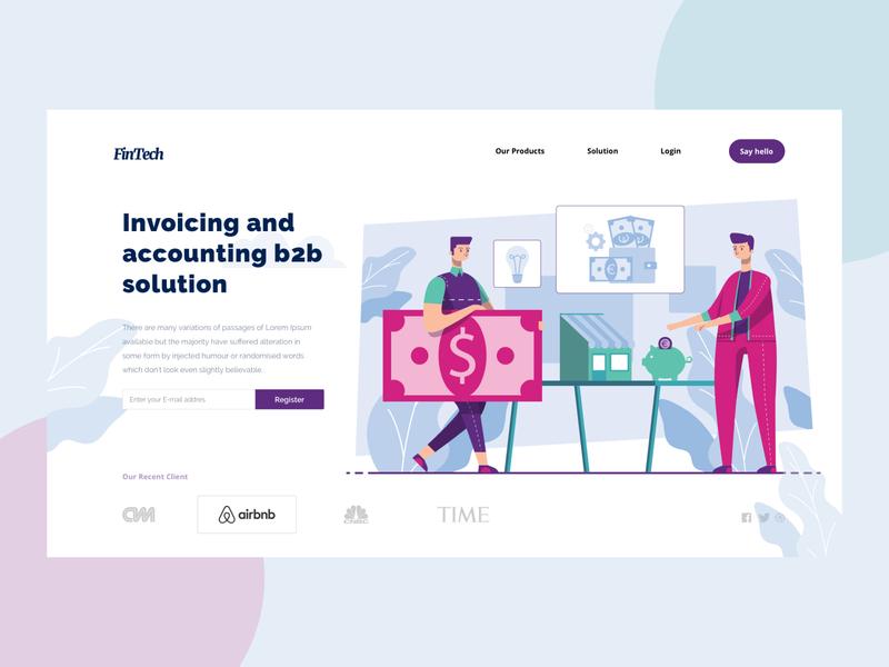 Fintech Unique Illustration Landing Page clean flat design ui web illustration vector landingpage