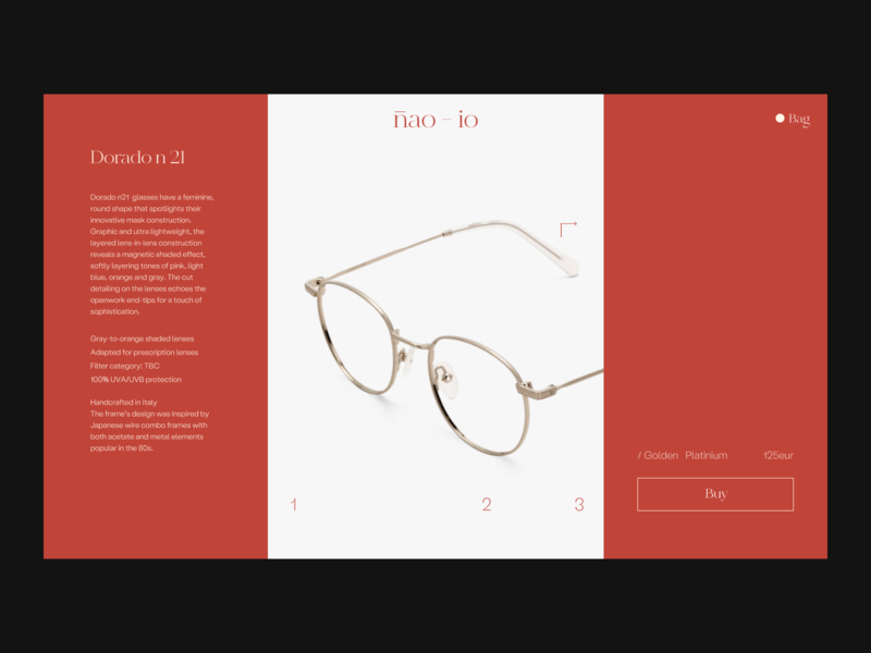 nao-io product page Issue 63 red branding minimal typography layout glasses productpage e-commerce webdesign web ux
