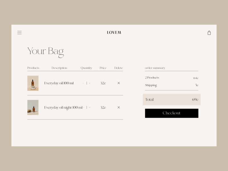 Body Oil Issue 73 ui typography minimaldesign e-commerce ecommence webdesign web ux basket cart checkout