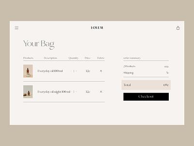 Body Oil Issue 73 ui typography minimaldesign e-commerce ecommence webdesign web ux basket cart checkout