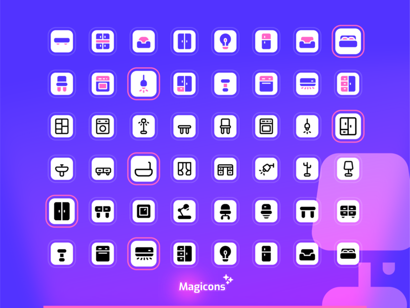 Magicons - Furniture & Appliance icon set icon set ux ui graphic design illustration icon design icon iconography