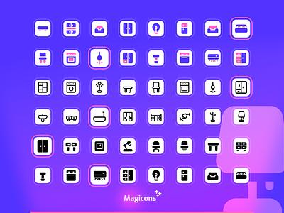 Magicons - Furniture & Appliance icon set icon set ux ui graphic design illustration icon design icon iconography