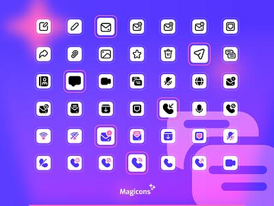 Magicons - Communication icon set communication chat iconography ux graphic design design vector ui illustration icon icon design