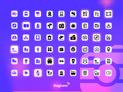 Magicons - Travel icon set travel ux iconography vector illustration graphic design design ui icon icon design