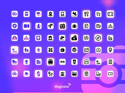 Magicons - Travel icon set travel ux iconography vector illustration graphic design design ui icon icon design