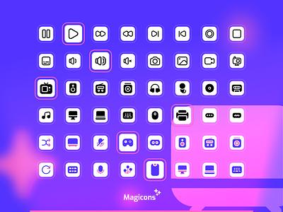 Magicons - Multimedia Icon Set multimedia vector ux illustration ui design iconography icon icon design