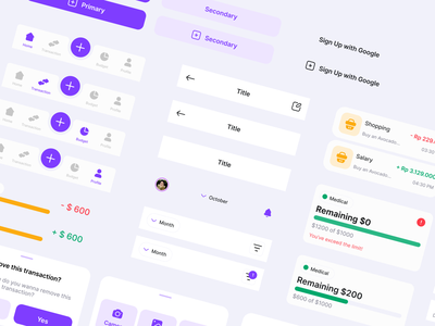 Montra - Expense Tracker UI kit resources freebie component mobile finance expense tracker figma user interface ux design graphic design ui